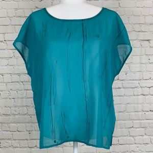 a.n.a Teal Sheer Top Gray Detail Size Large
